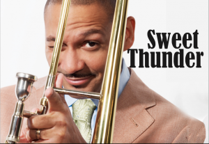 Man holding a trombone and the words Sweet Thunder