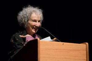 Author Margaret Atwood speaking in Morgan Hall auditorium