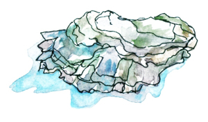 watercolor of an island