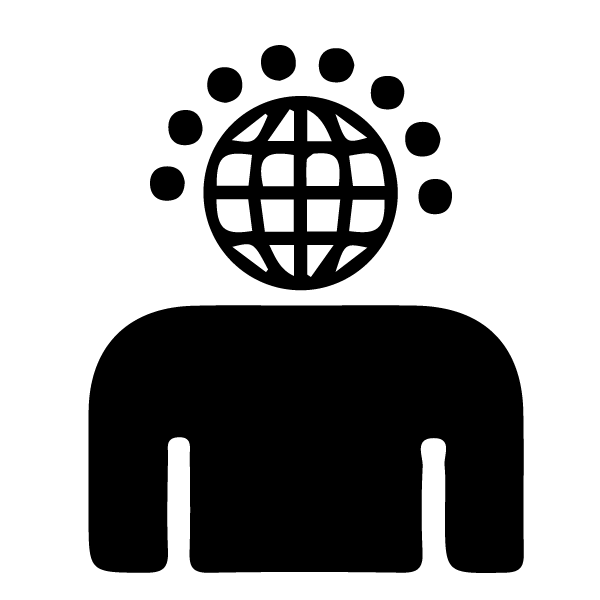 silhouette of a person with a globe for a head and several satellites, representing different languages, hovering around the globe