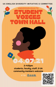 Flyer for Student Voices Town Hall event